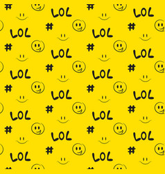 Lol pattern seamless yellow social media vector