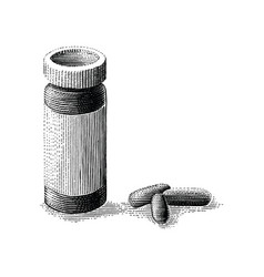 medicine bottle and pills hand drawing vintage vector image