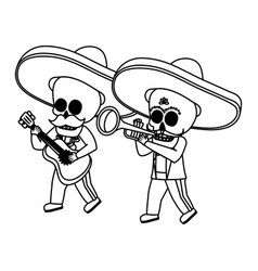 Mexican skulls mariachis with trumpet and guitar vector