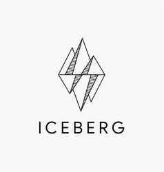 Minimalist geometric iceberg logo icon template vector