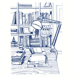 modern interior home library bookshelves hand vector image vector image