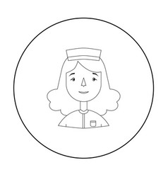 Nurse icon in outline style isolated on white vector