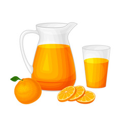 Orange juice in glass jug as organic squeezed vector