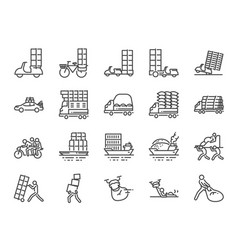 overweight transport line icon set vector image