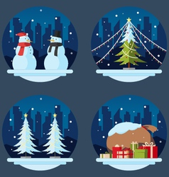 Pack flat design christmas decorations vector