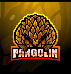 Pangolin mascot esport logo design vector
