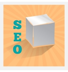 Paper origami cube on orange SEO icon with shadow vector