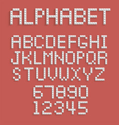 pixel alphabet of numbers and letters vector image