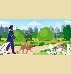 Police officer walking with german shepherd vector