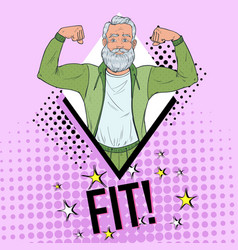 pop art mature senior man showing muscles vector image