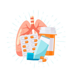 Pulmonary medication concept in flat style vector