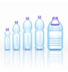 Realistic plastic drink bottles mockups isolated vector image