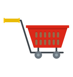 Red plastic shopping basket on wheels icon vector