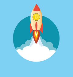 Rocket flying over clouds with bitcoin icon vector