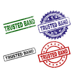scratched textured trusted band stamp seals vector image