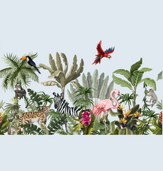 Seamless border with jungle animals flowers vector