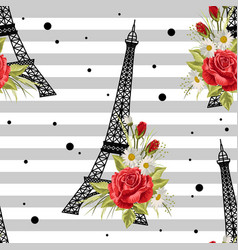 seamless floral pattern with eiffel towers on vector image
