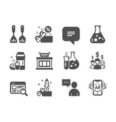 Set business icons such as website search vector