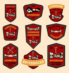 set hoverboard emblems design elements for vector image