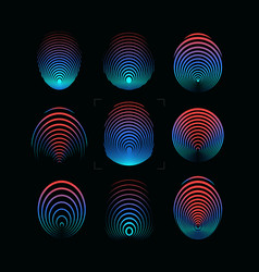 set of fingerprint icon round digital vector image