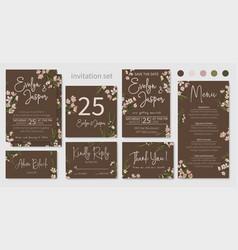 set of wedding invitations floral invitations vector image