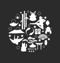 set traditional japanese symbols on black vector image