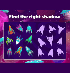 Shadow game with spaceships in space kids riddle vector
