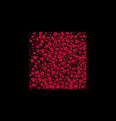 shape of a square filled with hearts on a black vector image