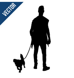 silhouette of a man with a dog vector image