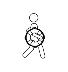 silhouette pictogram male with lifeguard float vector image