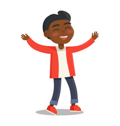 smiling kid in red jacket jeans with rucksack vector image