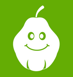 smiling quince fruit icon green vector image