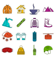 snowboarding icons doodle set vector image
