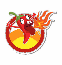 spicy chili sticker concept vector image