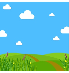 Spring meadow flowers clear sky and clouds vector