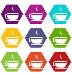 tea cup and saucer icon set color hexahedron vector image