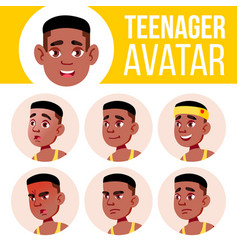 teen boy avatar set black afro american vector image