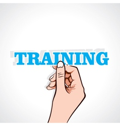 Training word sticker in hand vector