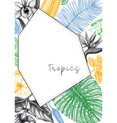 tropical frame design background with hand drawn vector image