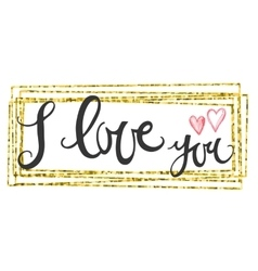 Valentines Day Card lettering i love you vector image