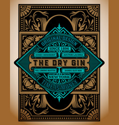 Vintage gin label template layered vector