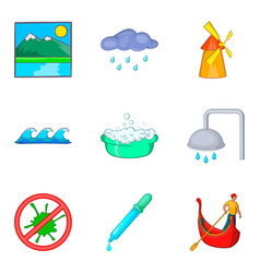 Water delivery icons set cartoon style vector