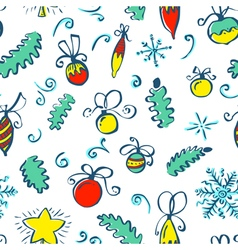 winter seamless pattern with decoration balls vector image