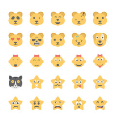 Smiley flat icons set 40 vector