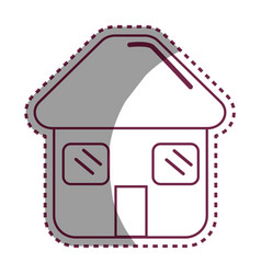 Sticker house with door roof and windows icon vector