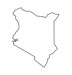 Kenya map of black contour curves on white vector