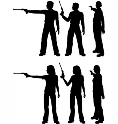 silhouette shooters vector image vector image