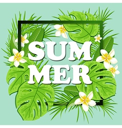 Summer floral frame with tropical plants vector image