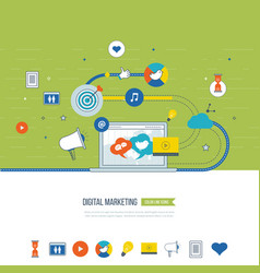 digital marketing and social network concept vector image