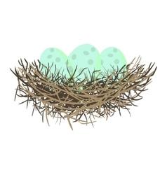 Green wild eggs in bird nest vector image vector image